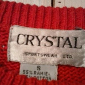 CRYSTAL Tops - *CRYSTAL WOMEN'S RED TEXTURED SHORT SLEEVE SWEATER